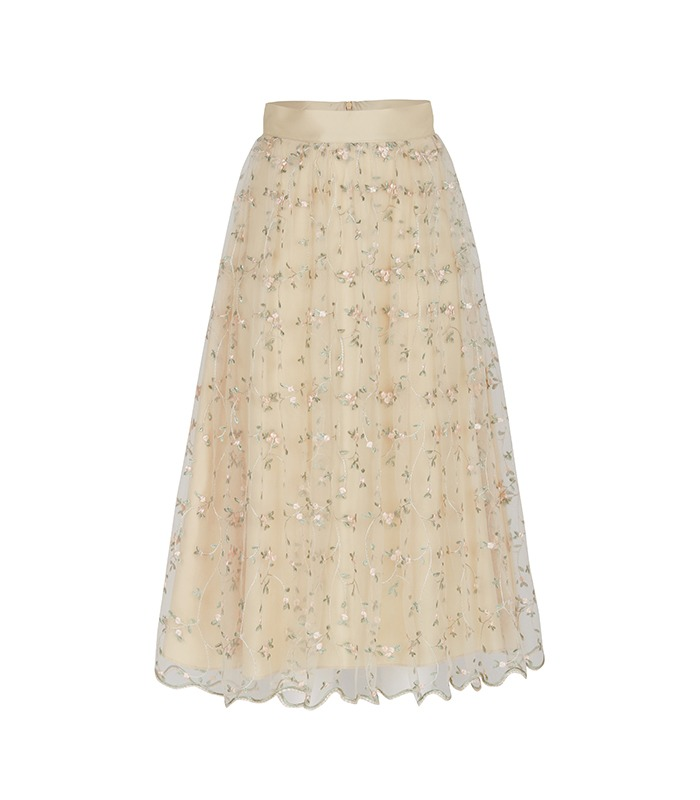 [only Astier] blooming lace skirt